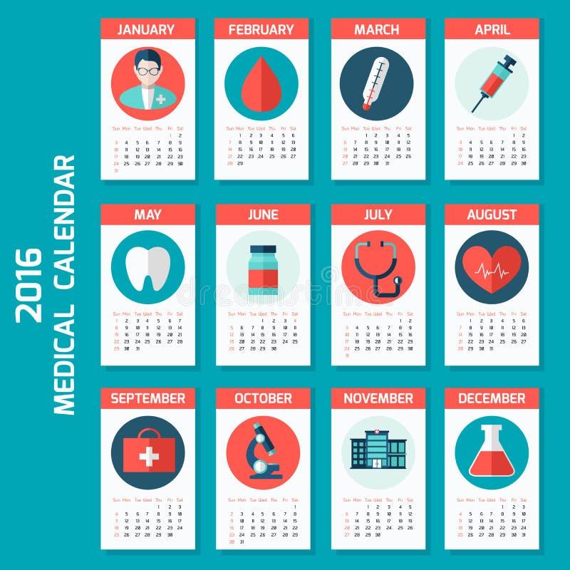 Den medicinska kalendern för ny 2016 år vecka startar på söndag vektor illustrationer