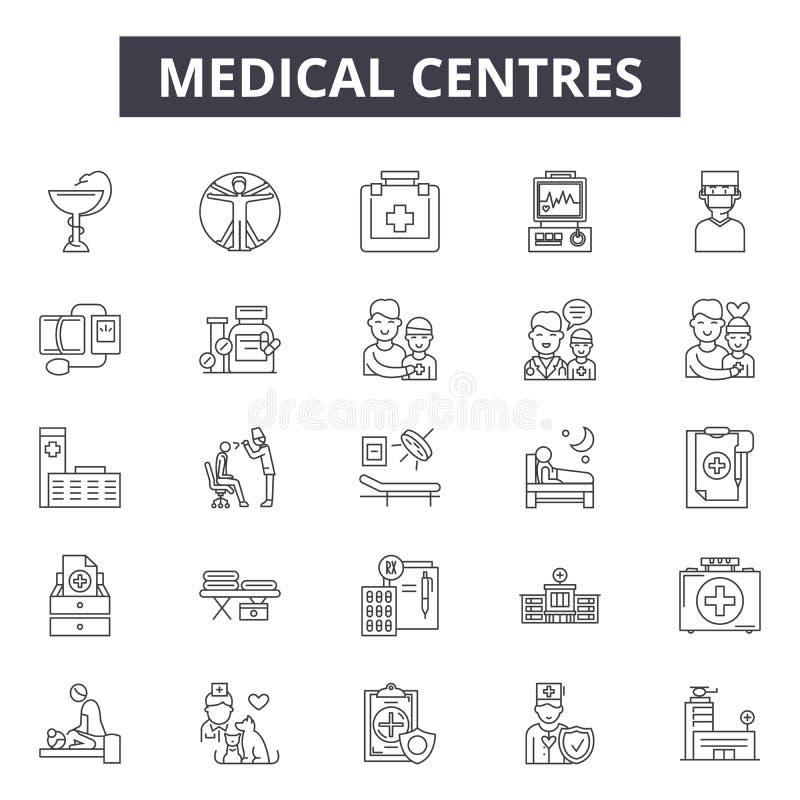 Den medicinska mitten fodrar symboler, tecken, vektoruppsättningen, översiktsillustrationbegrepp vektor illustrationer