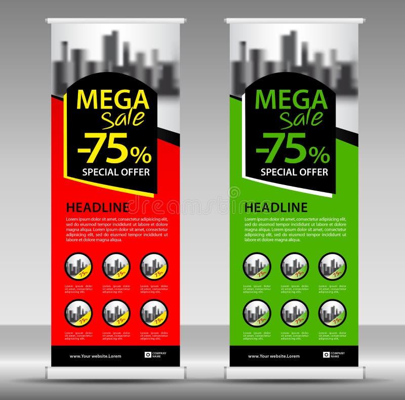 Den mega försäljningen rullar upp banermallen, reklambladorienteringsvektorn, handtag upp, x-banret royaltyfri illustrationer