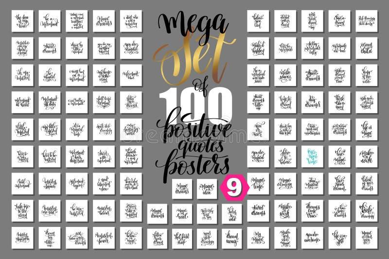 Den mega uppsättningen av bokstäverrealiteten för 100 hand citerar affischer royaltyfri illustrationer