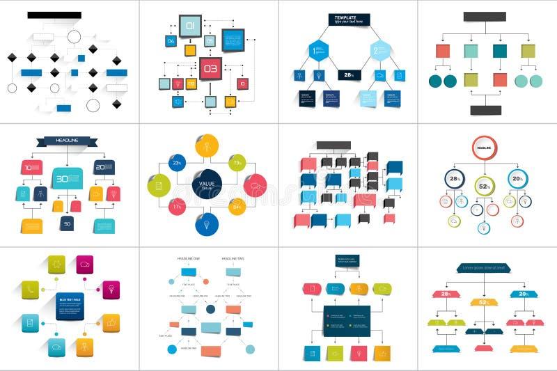 Den mega uppsättningen av olika flödesdiagram schemalägger, diagrams Enkelt redigerbar färg stock illustrationer