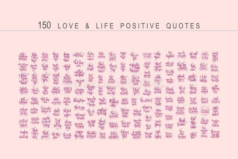 Den mega uppsättningen av 150 positiva citationstecken planlägger, handskriven bokstäver vektor illustrationer