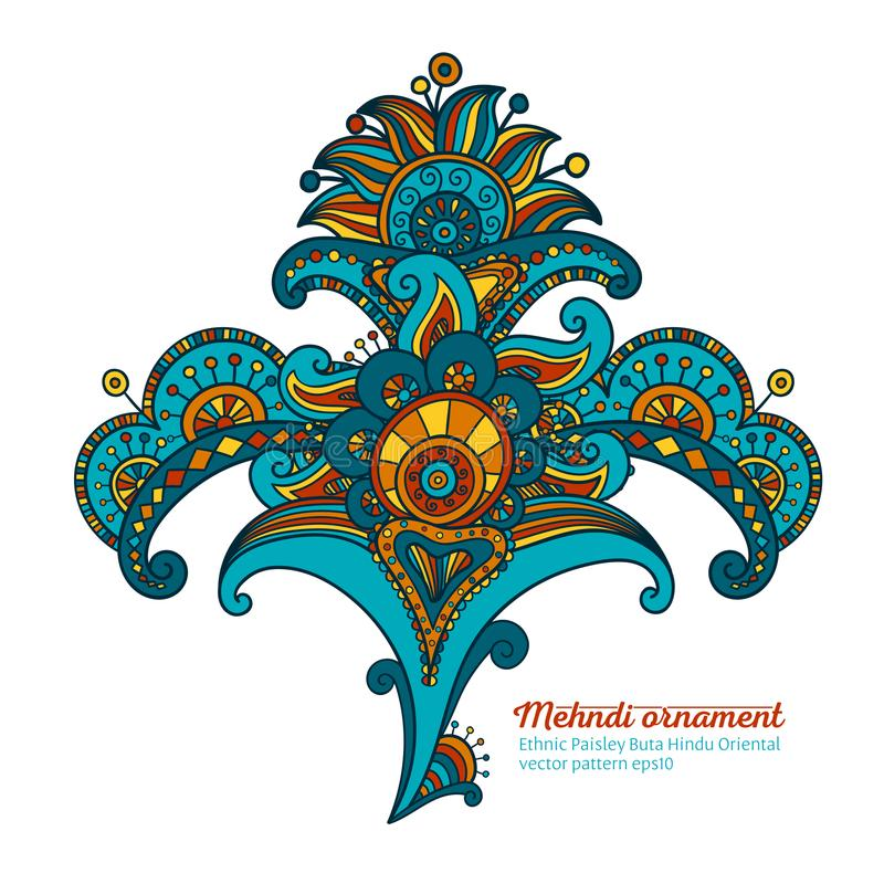 Den Mehendi apelsinen och guling krullar, det blom- motivet royaltyfri foto