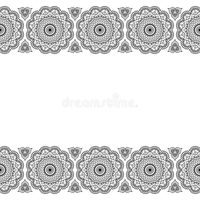 Den Mehndi Henna Indian linjen snör åt det blom- beståndsdelmodellkortet och tatuerar på vit bakgrund royaltyfri illustrationer
