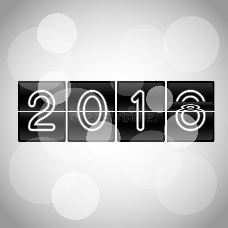 Den mekaniska vektorn 2019 för det lyckliga nya året bläddrar klockadesign i processen av bläddrar royaltyfri illustrationer
