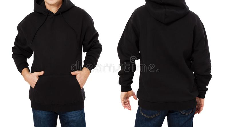 Den mellersta åldermannen i svart tröjamall isolerade Manliga tr?jor st?llde in med modell- och kopieringsutrymme Designframdel f royaltyfria foton