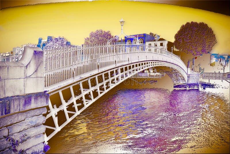 Den mest berömda bron i Dublin kallade 'halv overklig digital konstnärlig version för encentmyntbro '- royaltyfri bild
