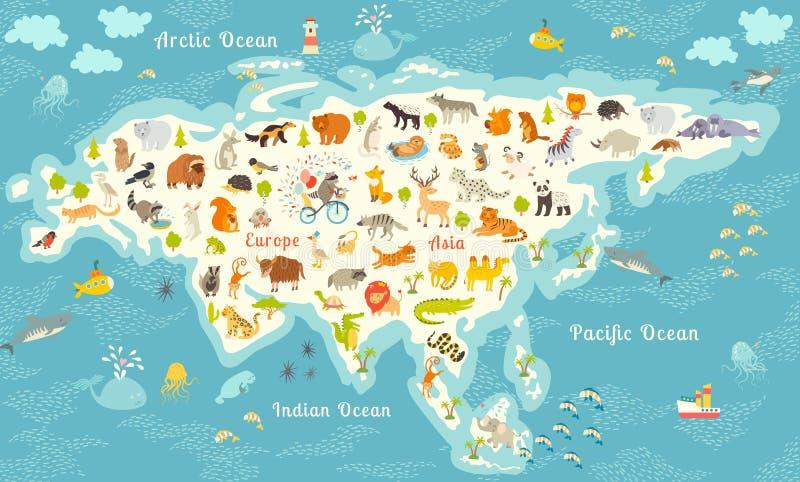 Den mest detaljerade djurvärldskartan, Eurasia Också fåglar, havliv, reptilar och däggdjur Härlig gladlynt färgrik vektor I royaltyfri illustrationer