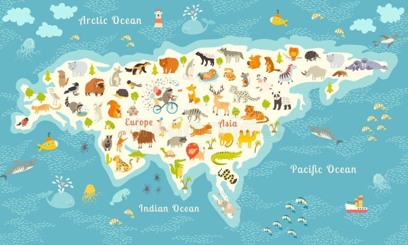 Den mest detaljerade djurvärldskartan, Eurasia Också fåglar, havliv, reptilar och däggdjur Härlig gladlynt färgrik vektor I stock illustrationer