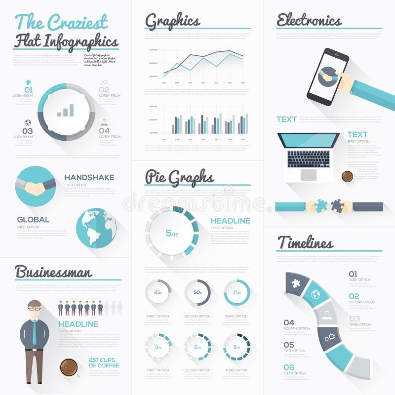 Den mest galna plana infographicsen och de moderna affärsbeståndsdelarna vektor illustrationer