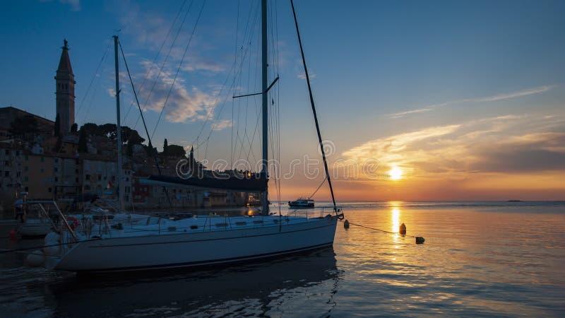 'Den mest härliga solnedgången 'Rovinj royaltyfria bilder