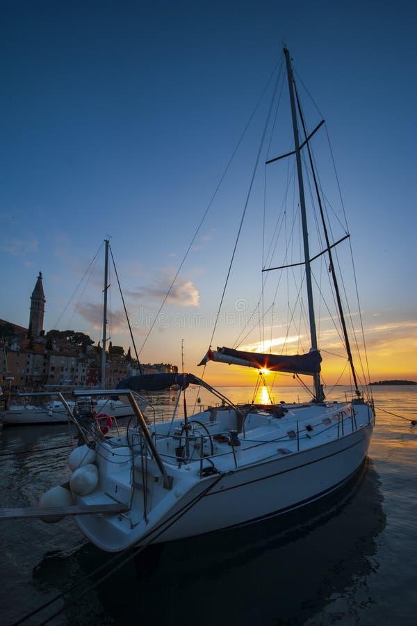 'Den mest härliga solnedgången 'Rovinj royaltyfria foton