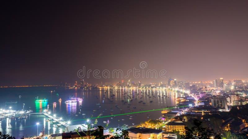 Den mest härliga synvinkelPattaya stranden i den Pattaya staden Chonburi, Thailand arkivfoton