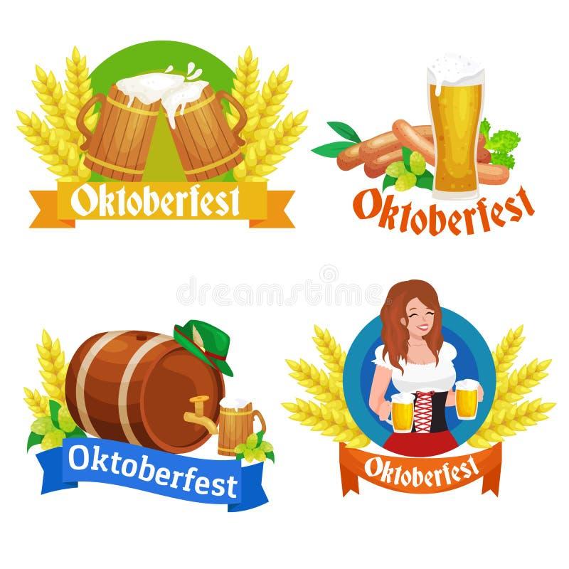 Den mest oktoberfest Tysklandölfestivalen, bavarianöl i exponeringsglas rånar, traditionell partiberöm, vektorillustration vektor illustrationer