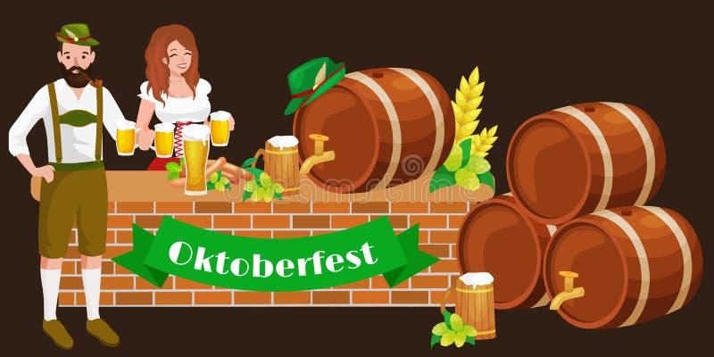 Den mest oktoberfest Tysklandölfestivalen, bavarianöl i exponeringsglas rånar, traditionell partiberöm, vektorillustration stock illustrationer