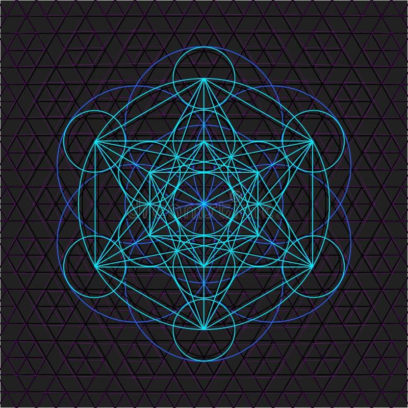 Den Metatron översikten kärnar ur av sakral geometri för liv stock illustrationer