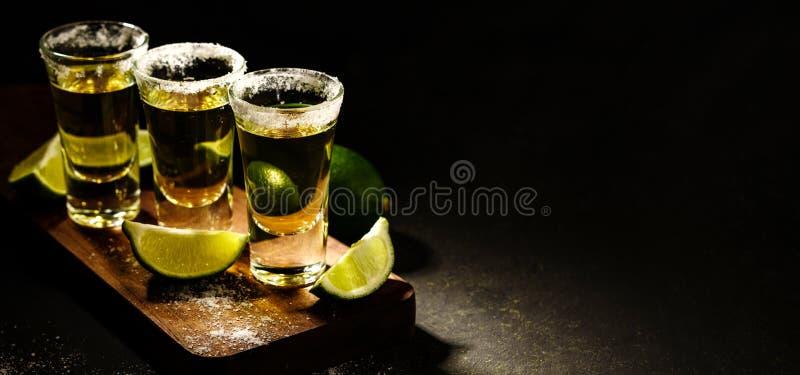Den mexicanska guld- tequilaen med limefrukt och saltar på trätabellen arkivfoto