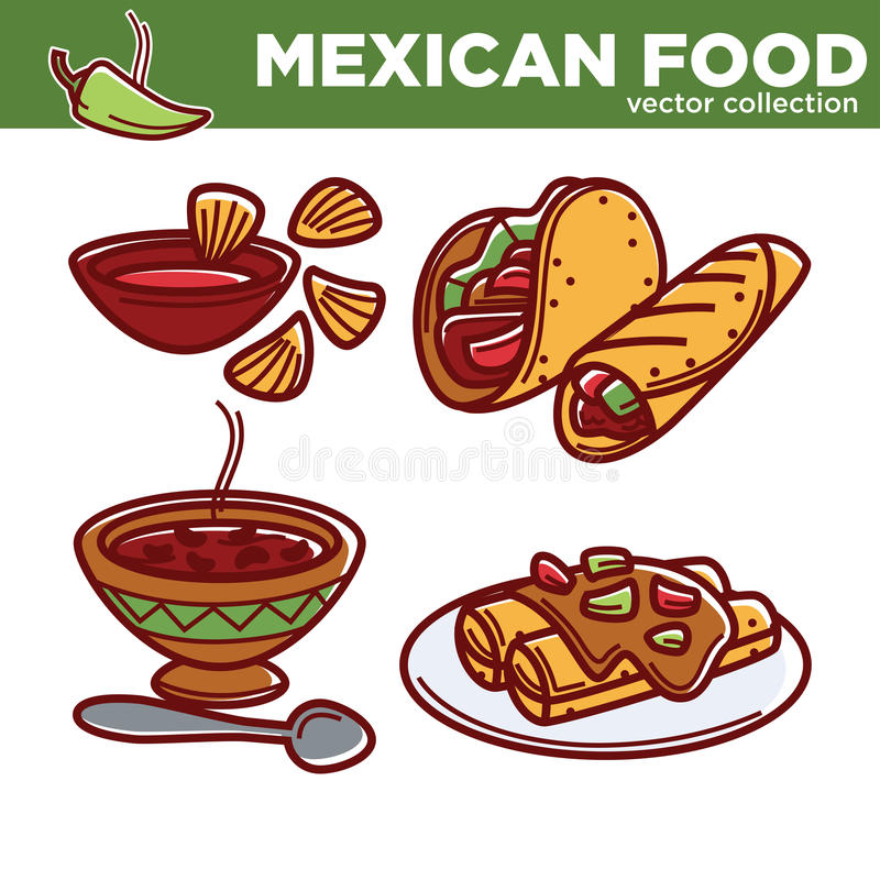 Den mexicanska matvektorsamlingen med kryddig disk ställde in royaltyfri illustrationer