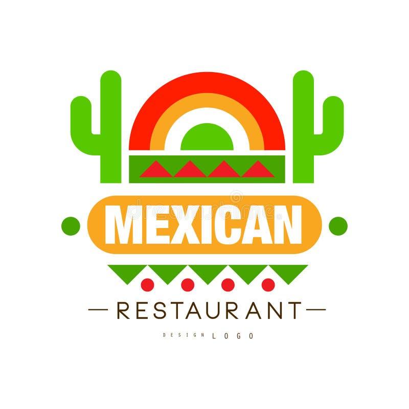 Den mexicanska restauranglogodesignen, den autentiska traditionella kontinentala matetiketten kan användas för kafét, stången, re vektor illustrationer