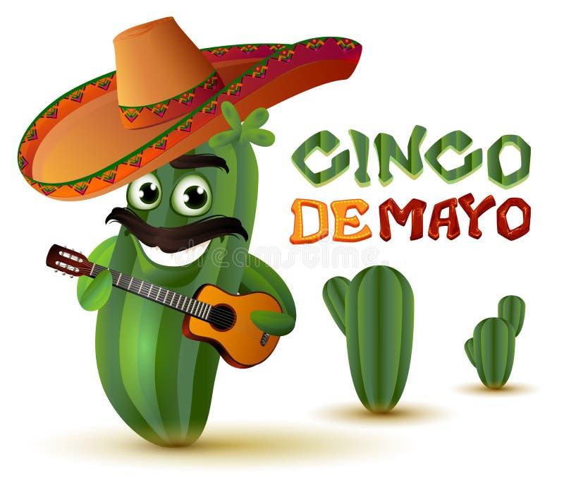 Den mexicanska roliga kaktuns i sombrero spelar gitarren cinco de mayo stock illustrationer