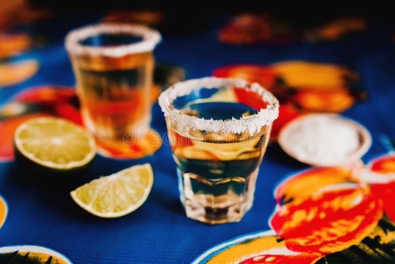 Den mexicanska tequilaen sköt med limefrukt och saltar i Mexico arkivfoto