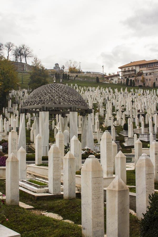 Den militära kyrkogården i Sarajevo stämma överens områdesområden som Bosnien gemet färgade greyed herzegovina inkluderar viktigt arkivbilder