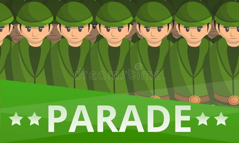 Den militära soldaten ståtar begreppsbanret, tecknad filmstil vektor illustrationer