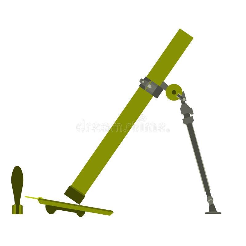 Den militära symbolen för armén för mortelvektorillustrationen bombarderar isolerat Design för vapen för symbolvapenkrig stock illustrationer
