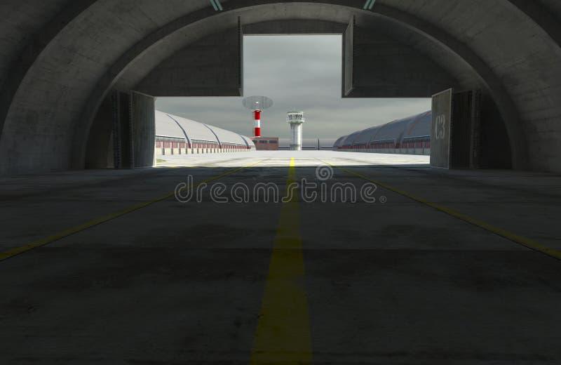Den Militay grunden, hangaren, bunker 3d framför royaltyfri illustrationer