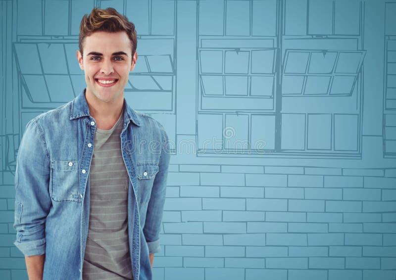 Den Millennial mannen som ler mot blått, räcker utdragna fönster stock illustrationer