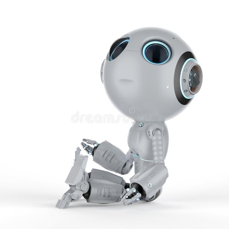 Den mini- roboten sitter stock illustrationer
