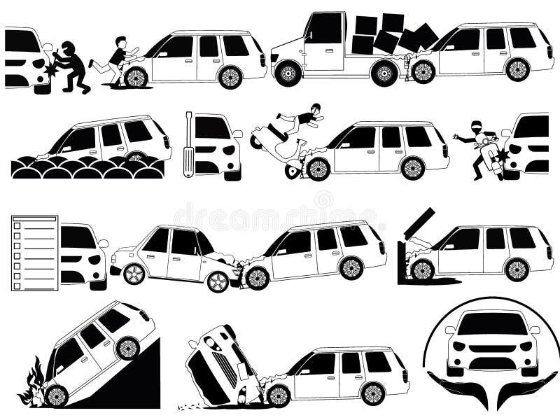 Den mini- skåpbilkraschen och olyckor på vägsymbolsuppsättningen skisserar conce stock illustrationer