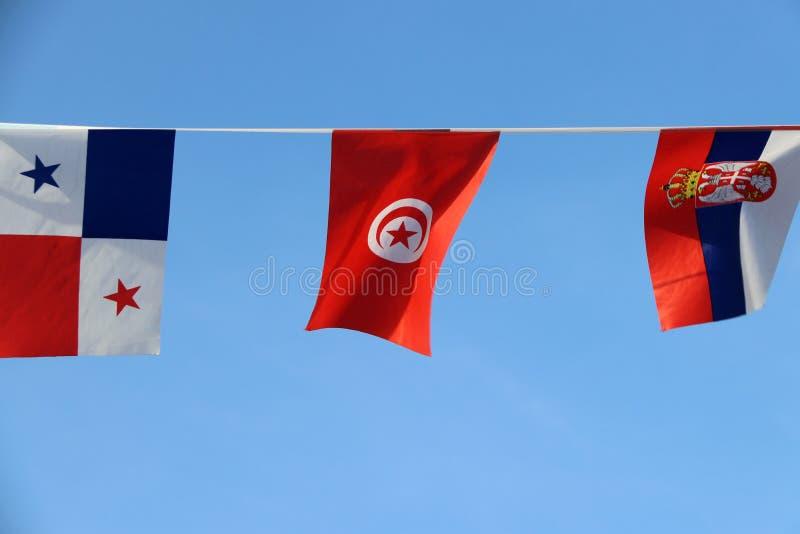 Den mini- tygstångflaggan av Tunisien, är det den röda och vita flaggan och stjärnan och halvmånformigt i mitt Det som hänger på  arkivfoton