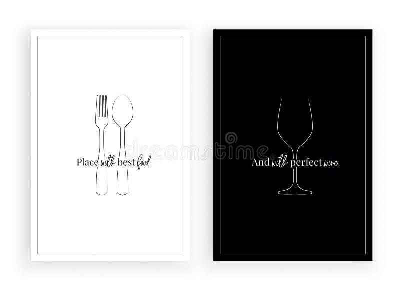 Den Minimalist affischdesignvektorn, stället med bästa mat och perfekt vin, restauranger citerar och att uttrycka design, bokstäv vektor illustrationer