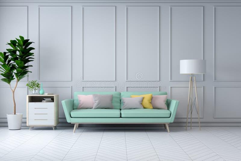 Den Minimalist inredesignen för vitt rum, den gröna soffan med växten på den vita väggen /3d framför arkivfoto