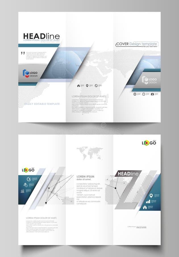 Den minimalistic abstrakta vektorillustrationen av den redigerbara orienteringen av två idérika trifold broschyrräkningar planläg stock illustrationer