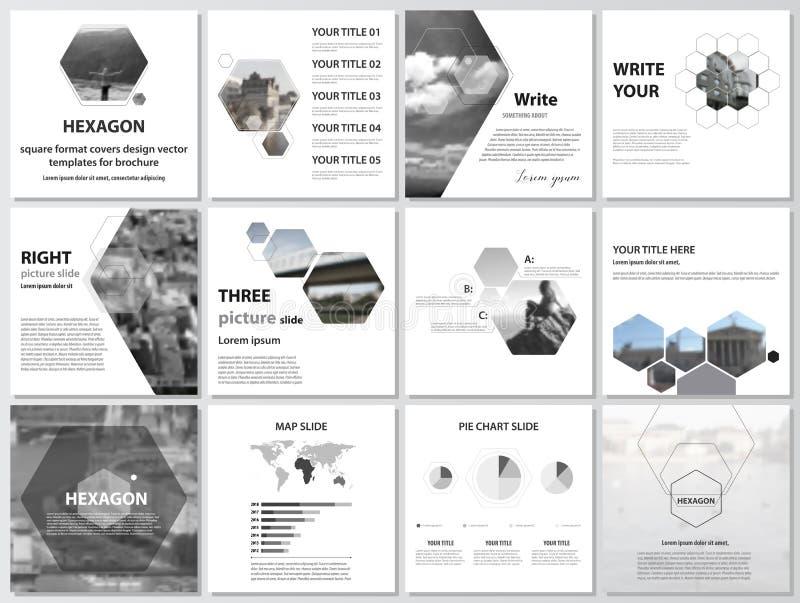 Den minimalistic vektorillustrationen av den redigerbara orienteringen av fyrkantiga formaträkningar planlägger mallar för brosch royaltyfri illustrationer