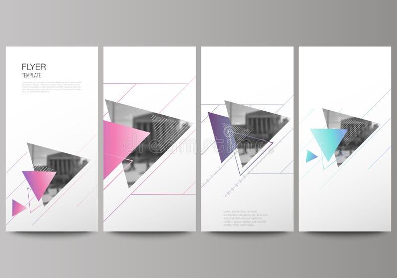Den minimalistic vektorillustrationen av den redigerbara orienteringen av reklambladet, banerdesignmallar Färgrikt polygonal stock illustrationer