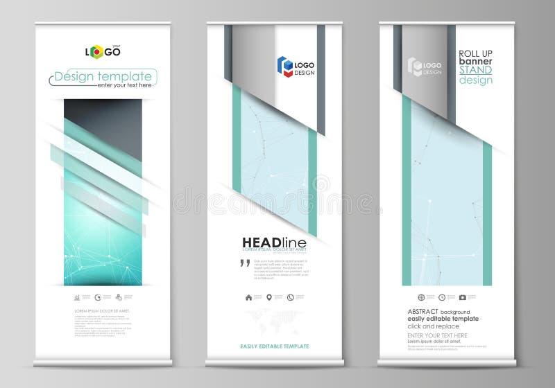 Den minimalistic vektorillustrationen av den redigerbara orienteringen av rullar upp banerställningar, vertikala reklamblad, flag vektor illustrationer