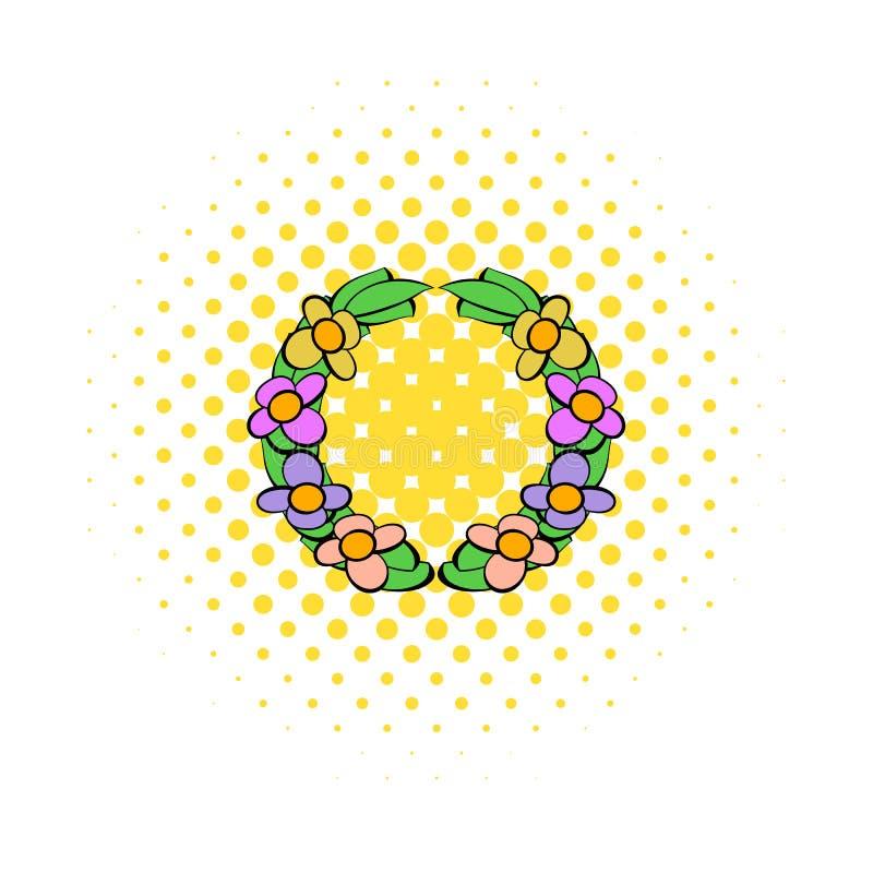 Den minnes- kransen av blommasymbolen, komiker utformar royaltyfri illustrationer