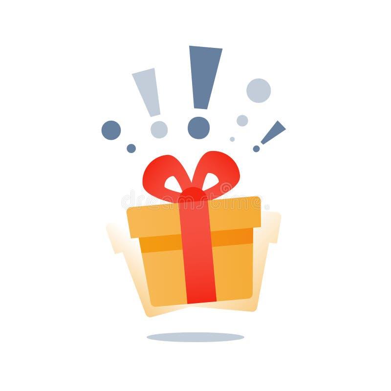 Den mirakel- gåvan med utropsteckenet, närvarande fröjd, den gula gåvaasken för överraskningen, sakkunnig ger bort packen, lojali stock illustrationer