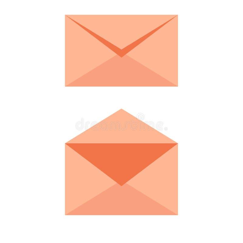 Den mjuka orange symbolen för postkuvertet - öppnade ett stängt Emailen överför begreppsvektorn vektor illustrationer