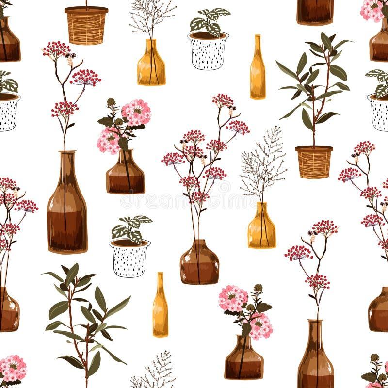 Den moderiktiga moderna sömlösa modellen med idérika dekorativa blommor i vasen som är botanisk i kruka, i vektor, nedlåta sig fö stock illustrationer