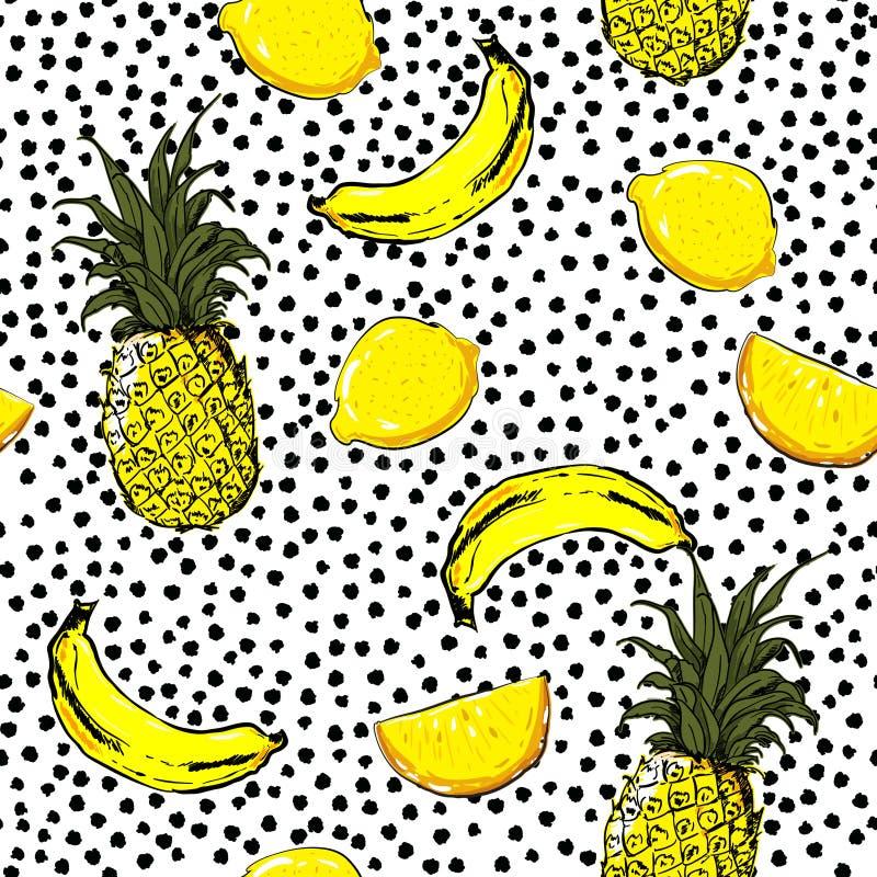 Den moderiktiga och nya handen skissar sommarfrukter citronen, ananas, banan royaltyfri illustrationer