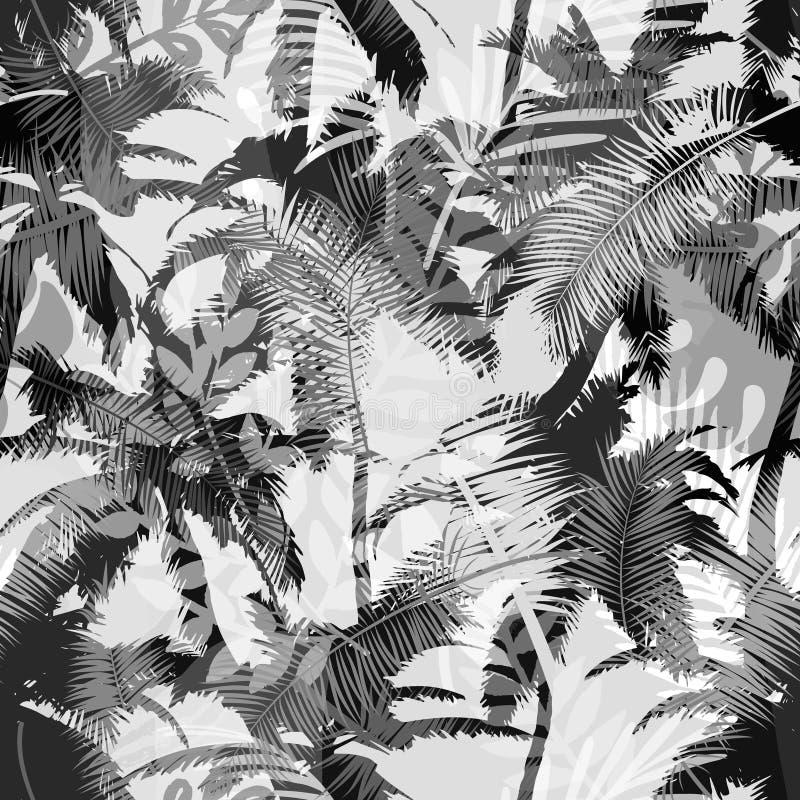 Den moderiktiga sömlösa exotiska modellen med gömma i handflatan och tropiska växter Modern abstrakt design för papper, tapet, rä stock illustrationer
