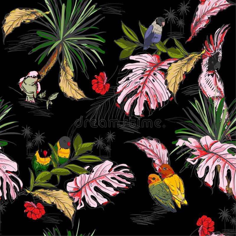 Den moderiktiga vektorn skissar Utdragen sömlös modell för hand med den mörka tropiska lösa skogen och exotiska fåglar med palmbl royaltyfri illustrationer