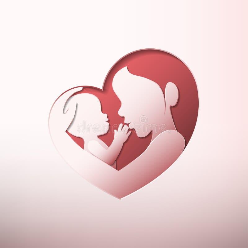 Den modern som rymmer, behandla som ett barn i hjärta formade konturpapperskonst vektor illustrationer