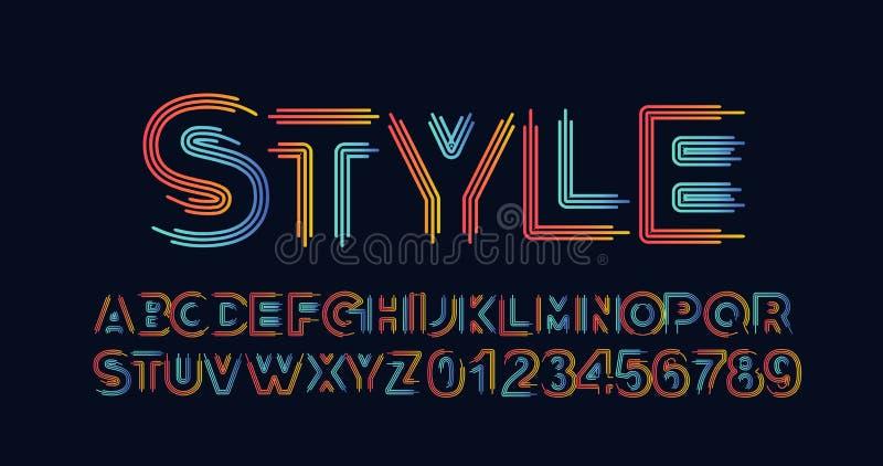 Den moderna abstrakta stilsorten st?llde in av alfabettextdesign royaltyfri illustrationer
