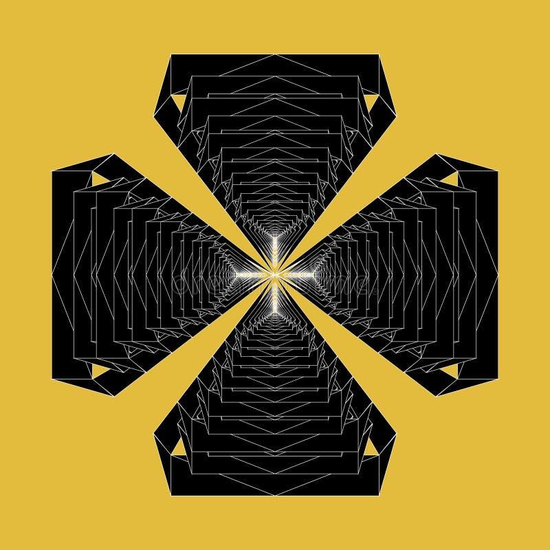 Den moderna abstrakta vektorn multiplicerar att upprepa det svartvita invecklade symbolklosterbroderkorset royaltyfri illustrationer