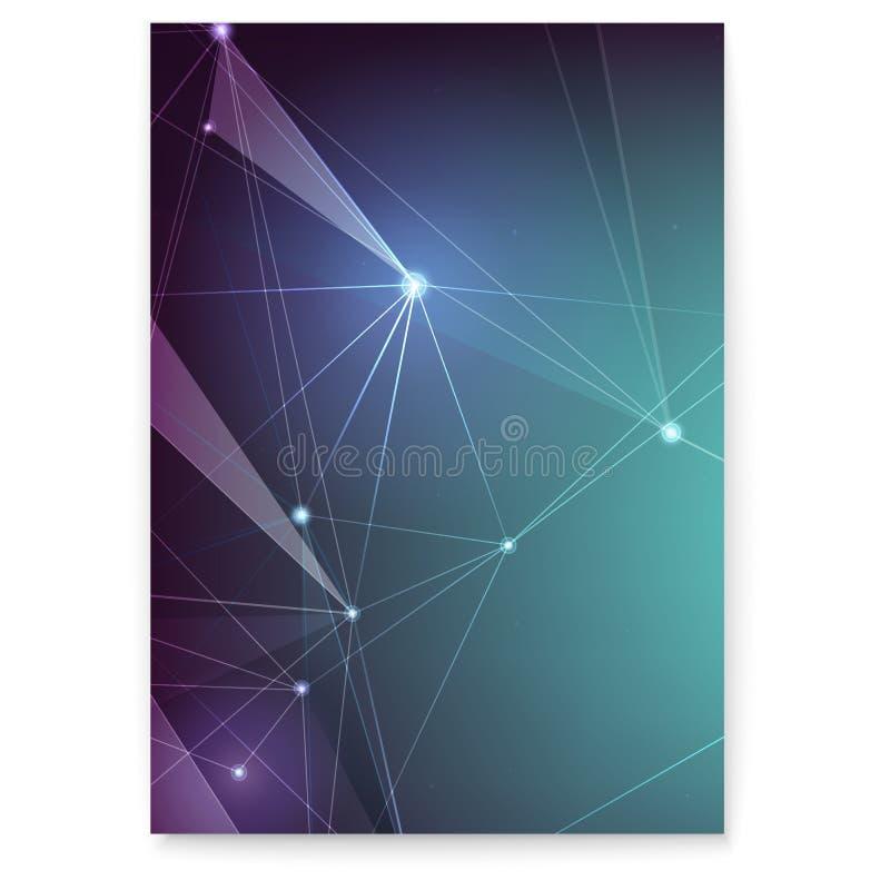 Den moderna affischen med den abstrakta plexusen formar, vektorillustrationen Begrepp av kommunikationssammanlänkningar, nätverk, vektor illustrationer